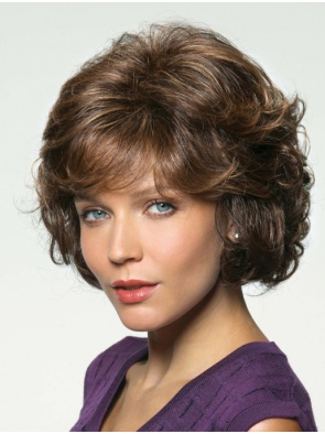 Wavy Chin Length With Bangs Brown Affordable Human Hair Wigs
