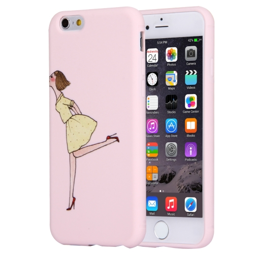 For iPhone 6 Plus & 6s Plus Lovely Modern Girl Relief Pattern Pink Color Soft TPU Protective Case Ba