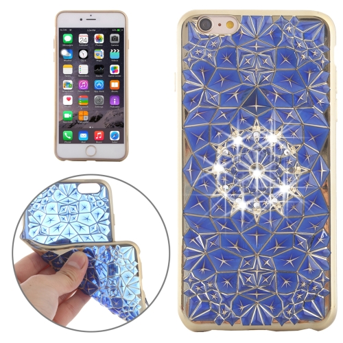 For iPhone 6 Plus & 6s Plus Diamond Texture Electroplating Diamond Encrusted TPU Protective Case(Gol