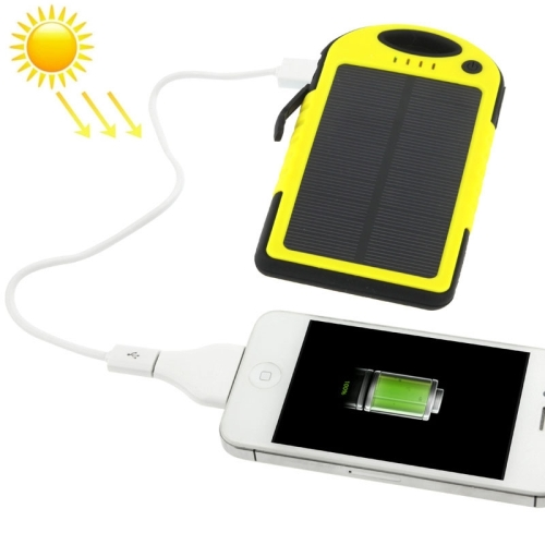 5000mAh Waterproof / Shockproof / Dropproof Emergency Power Solar Charger for iPhone / Samsung Galax