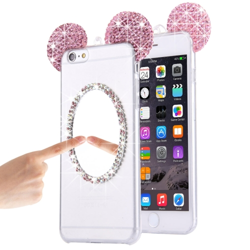 For iPhone 6 & 6s Mouse Ear Diamond Pattern Transparent TPU Protective Case with Lanyard & Mirror(Pi