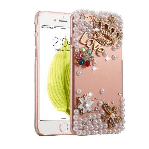 Fevelove for iPhone 6 & 6s Diamond Encrusted Bling Crown Pattern PC Protective Case Back Cover