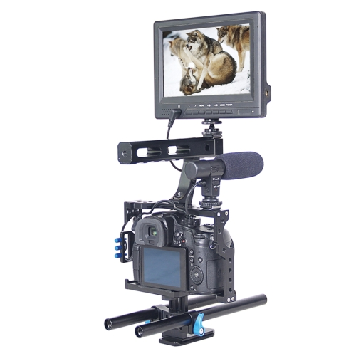 YELANGU YLG0904A Handle Video Camera Cage Stabilizer Kit with Matte Box & Follow Focus for Panasonic