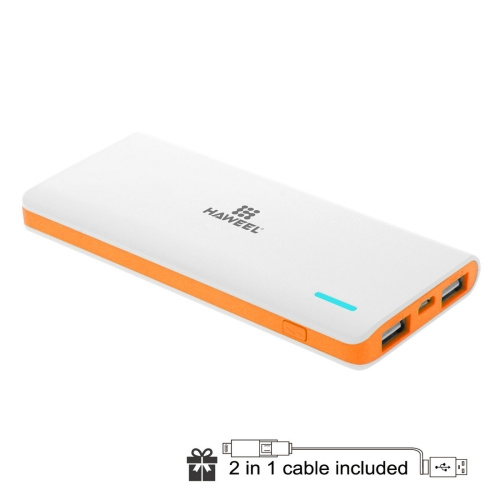HAWEEL 5600mAh Dual USB Power Bank with 8 Pin & Micro USB 2 in 1 Charging Cable(Orange)