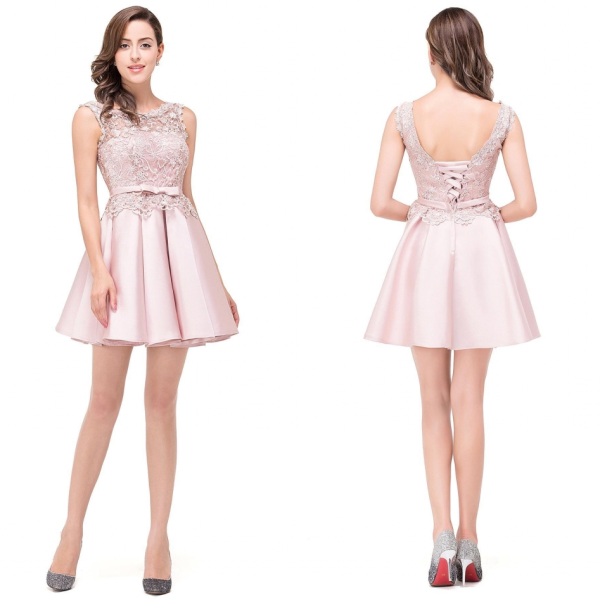 Sleeveless Bowknot Blushing-pink Lace Sweet Sash Homecoming Dresses