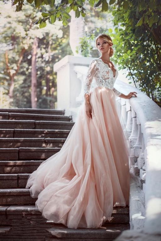 Elegant V-Neck Pink Tulle Long Sleeves Lace A-line Wedding Dresses