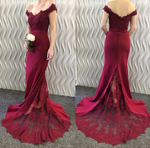 Mermaid Burgundy Lace-Appliques Off-the-Shoulder Long Prom Dresses