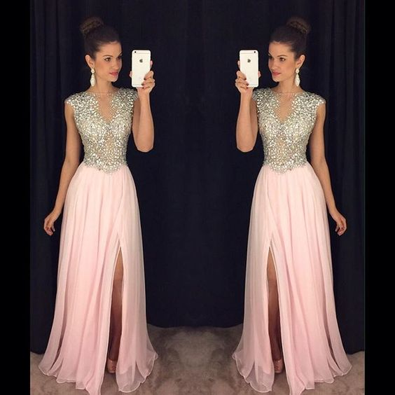 Luxury Long Front-Slit Pink Beaded A-line Crystals Prom Dresses