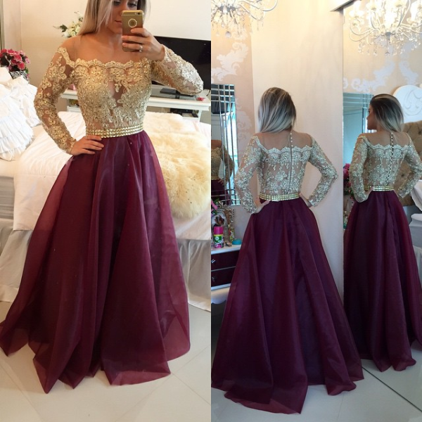 2017 Burgundy & Gold Lace Appliques Long Sleeves A-line Prom Dresses