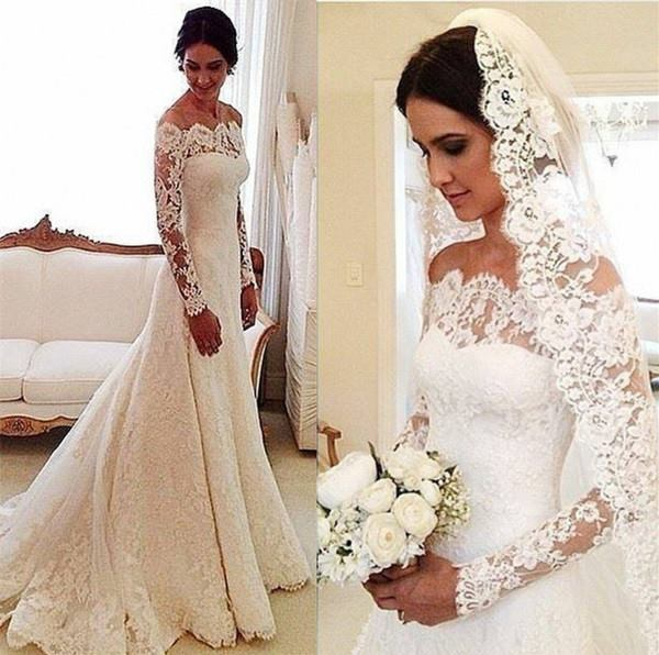 2017 Lace Off-the-Shoulder Long Sleeves Elegant A-line Wedding Dresses