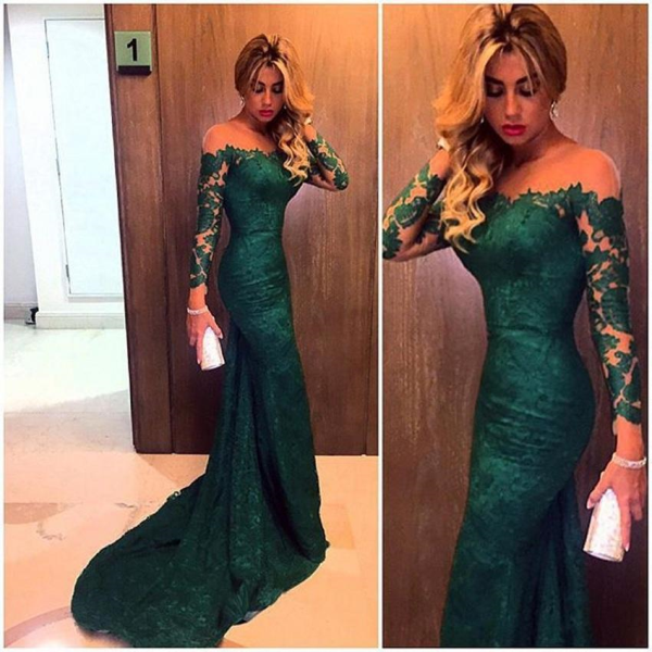 2017 Dark Green Lace Prom Dresses Long Sleeves Mermaid Evening Gowns
