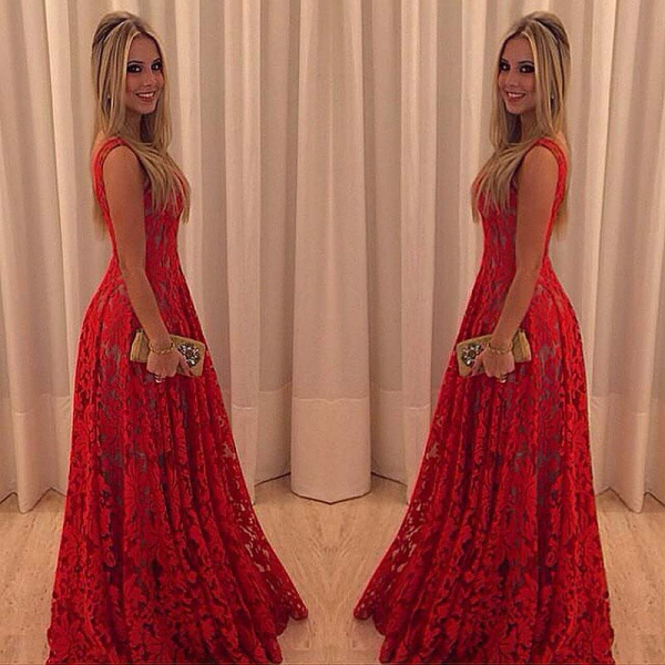 2017 Lace Red Prom Dresses Sleeveless Straps A-line Newest Evening Dress