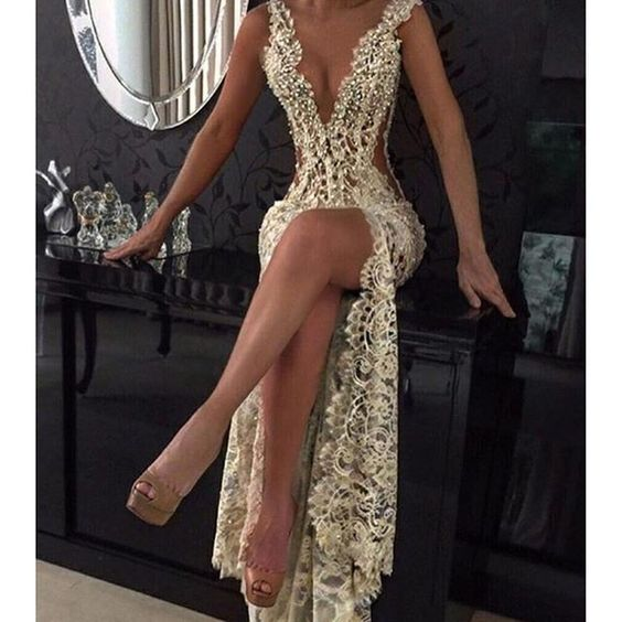 2017 Sexy Sheer Lace Prom Dresses Deep-V-Neck Front Slit Long Party Dress