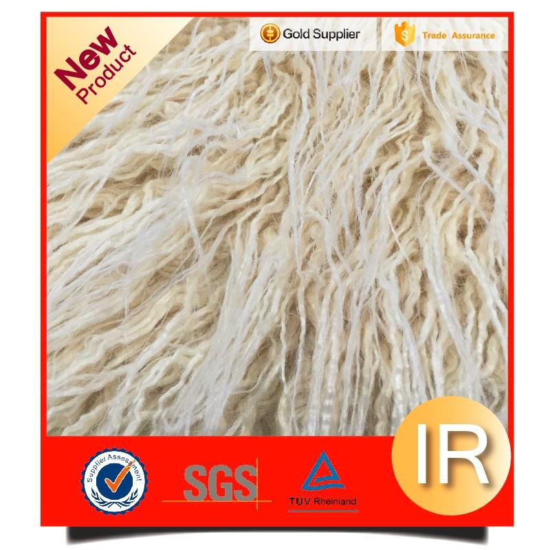 knitted acrylic long pile curly faux fur fabric for winter coat upholstery