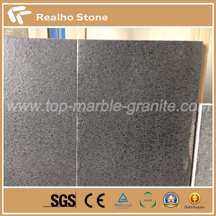 Leathered G684 Black Pearl Fuding Black Basalt Granite Tiles