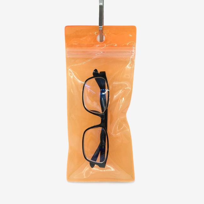 orange plastic ziplock spectacle bag