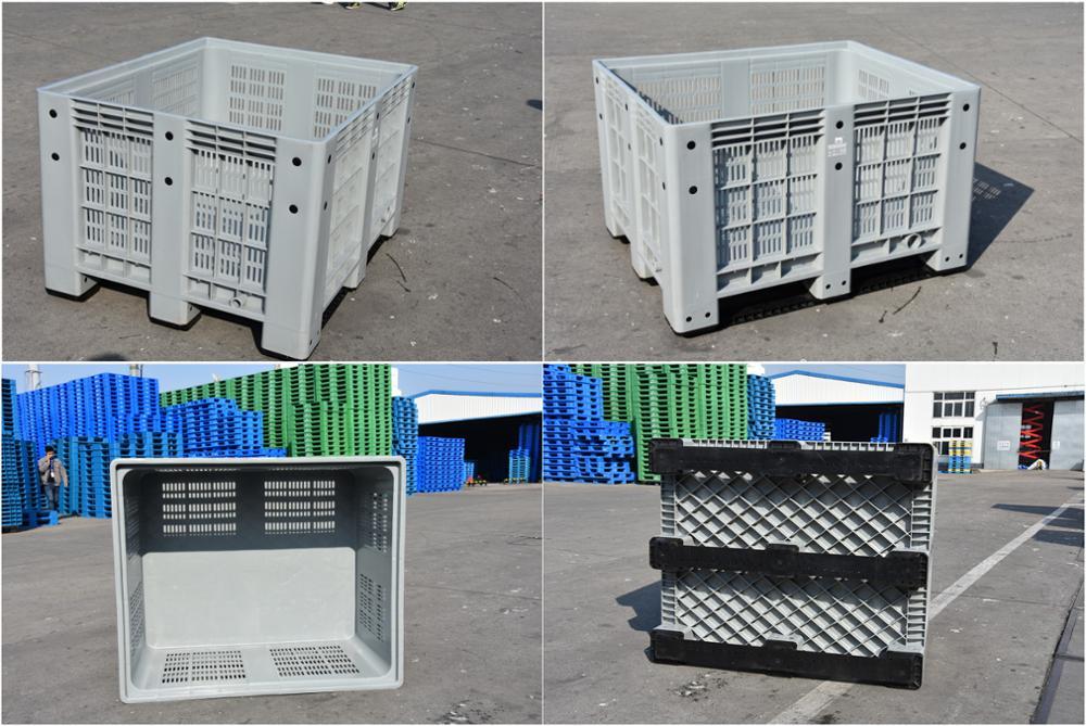 Caja plástica grande de alta capacidad de la plataforma del hdpe de la malla del alto volumen para el mercado de las frutas