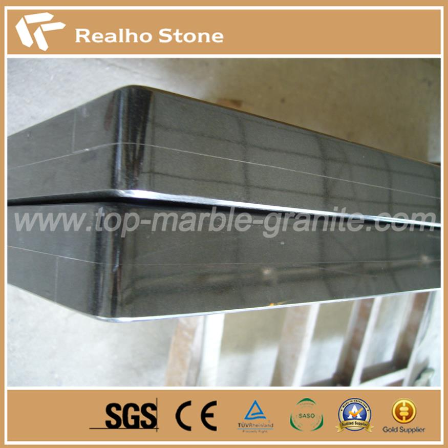 Laminated Straight Polished Edge Pure Black Granite Countertop for Kitchen Tops