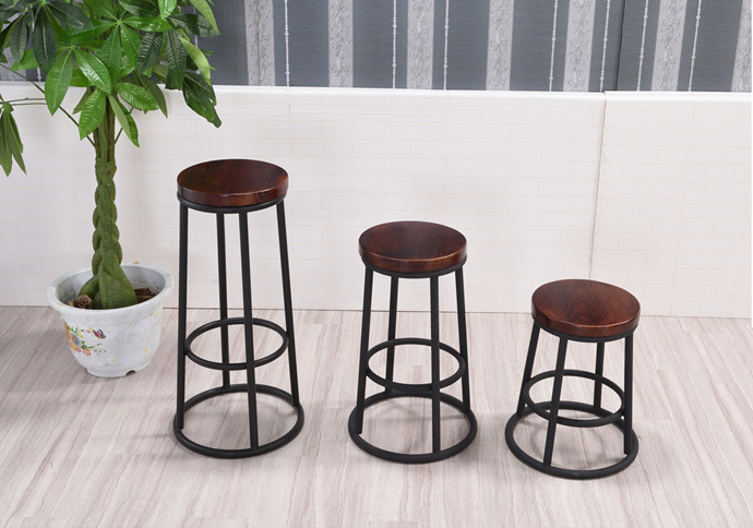 Industrial ring shape homeuse coffee shop working wooden seat stool