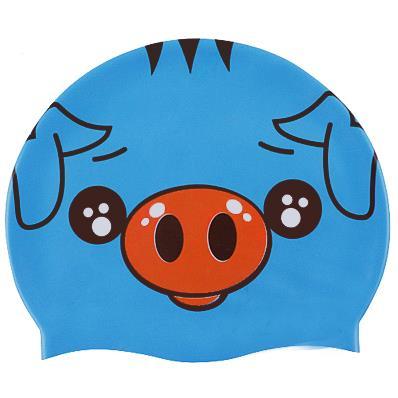 Silicone swim cap pig face blue.jpg