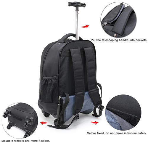 China waterproof 4 wheels backpack
