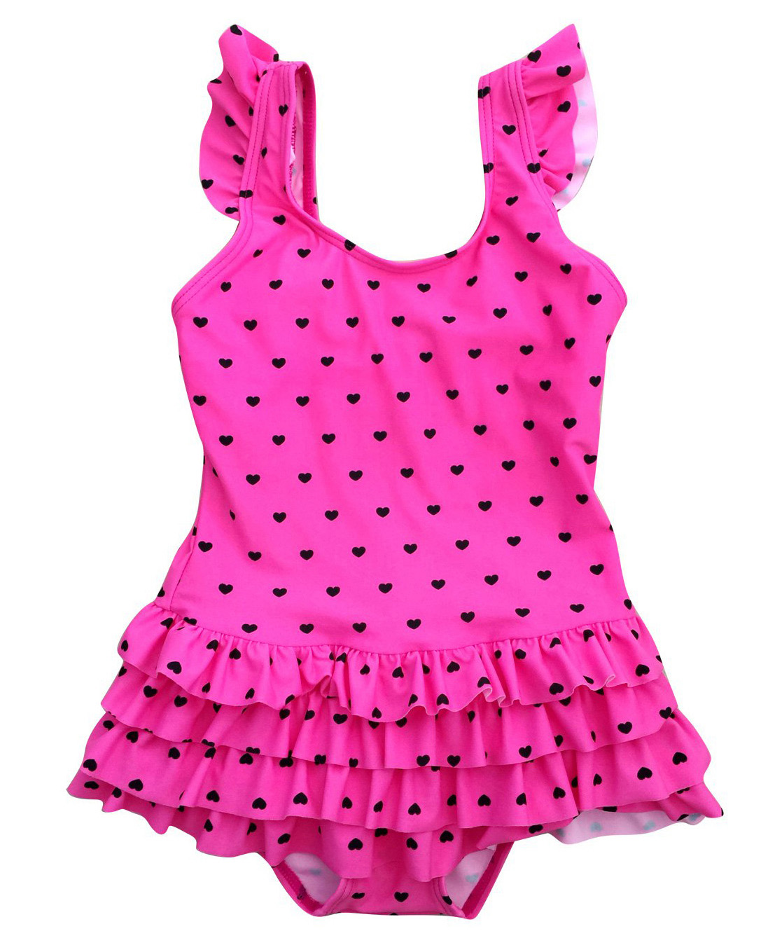 Baby girls swimsuit one piece pink-blk heart-front.jpg