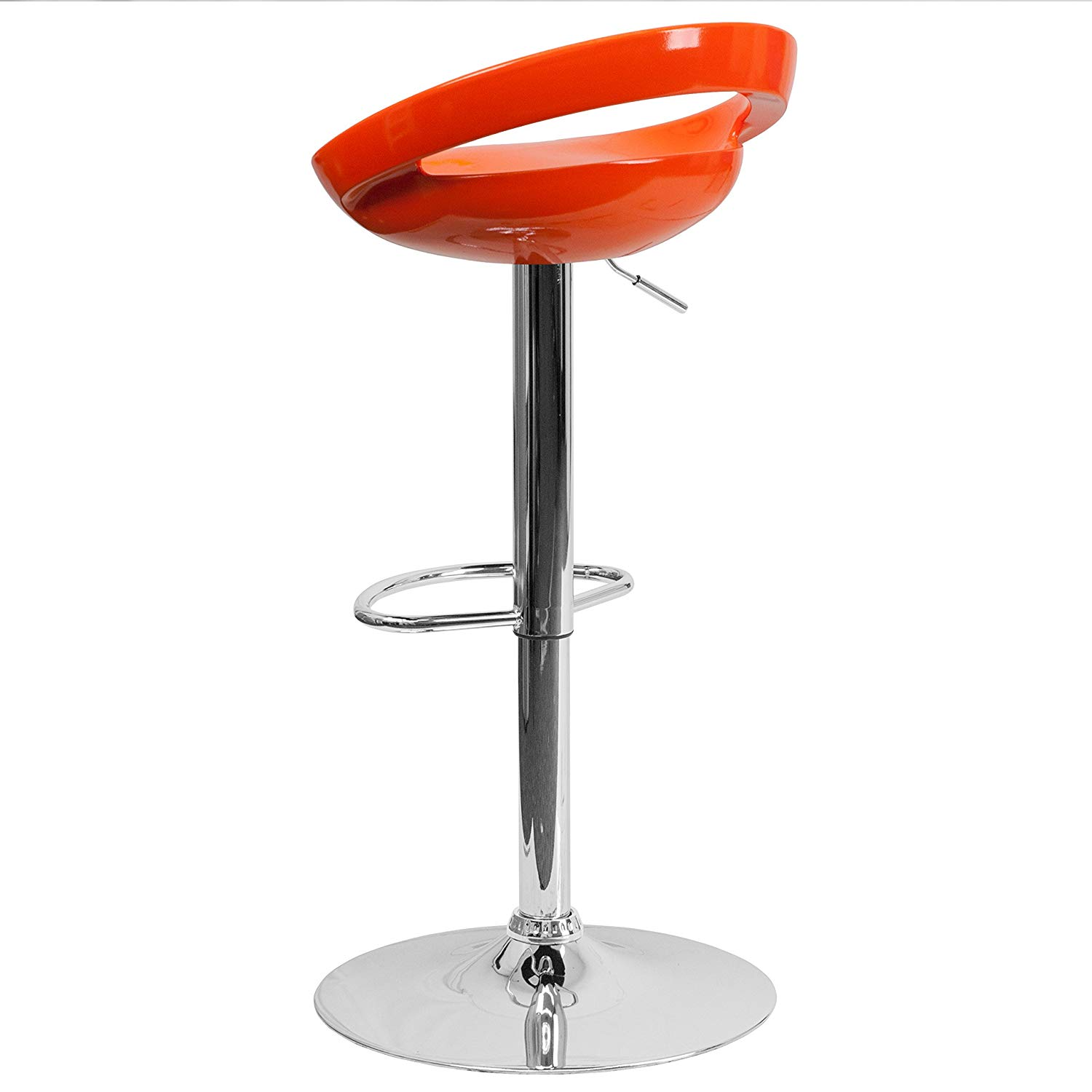 Plastic Adjustable Height Barstool With Chrome Base