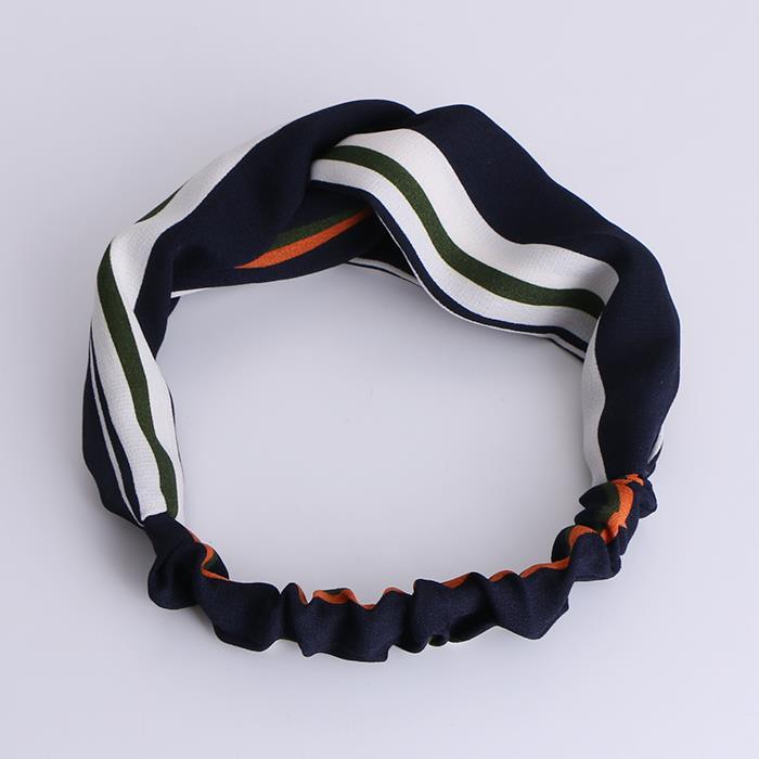 Fashion Striped Flower Knot Headband Turban Elastic Hairband.JPG