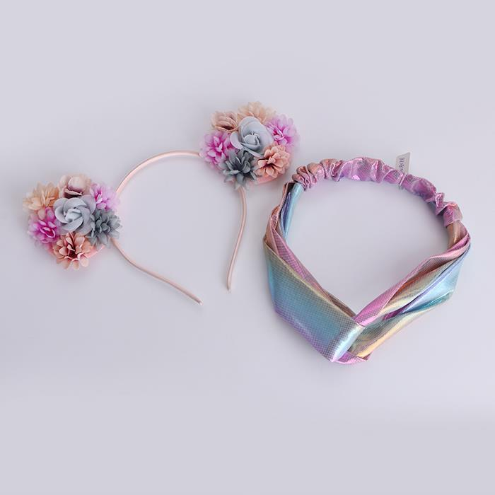 Rose Flower Cat Ears Hairbands Girls Colorful Headband Set.jpg