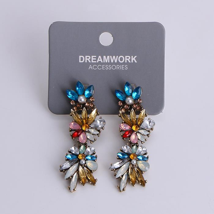 Exaggeration Crystal Flower Long Dangle Earrings.jpg