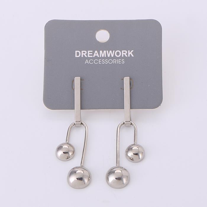 Silver white metal ball U-shaped earrings.JPG