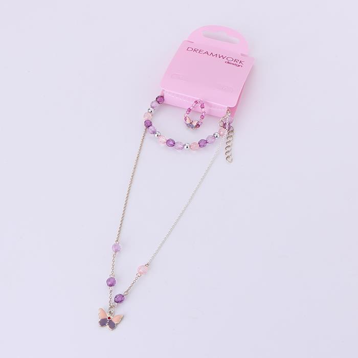 Cute Elastic butterfly Necklace Bracelet ring set.JPG