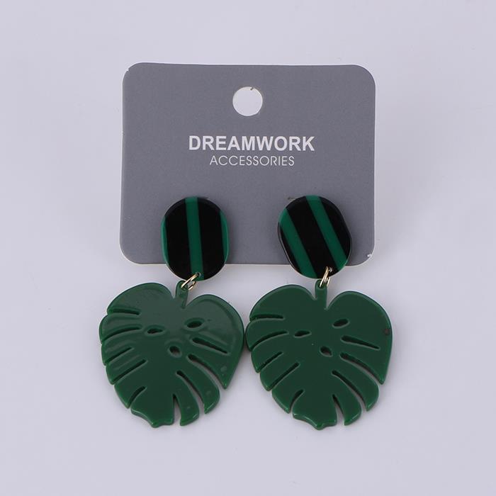 Handmade original acrylic turtle leaf personality earrings.JPG