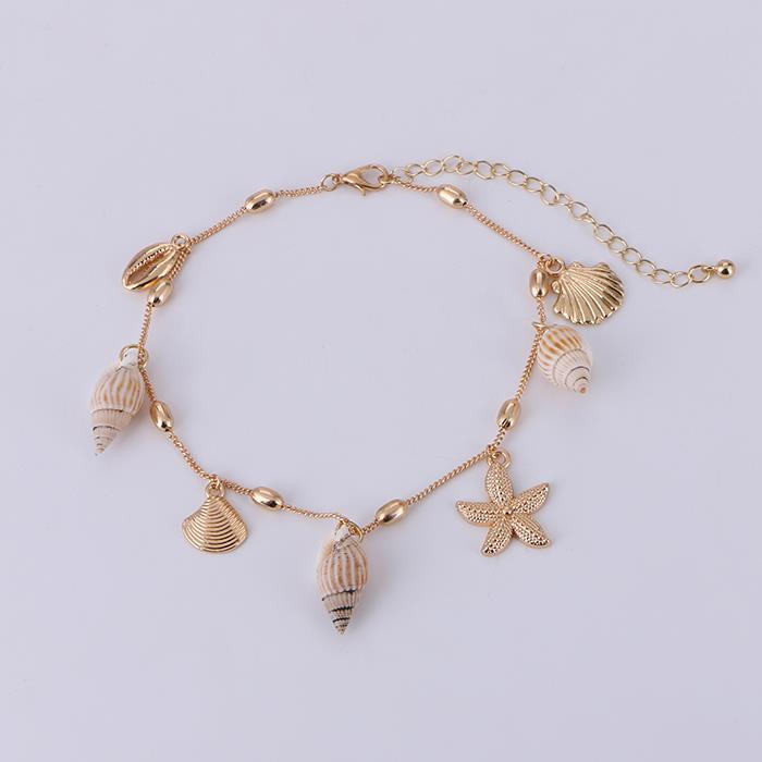 Bohemia Summer Nature Shell Metal Starfish Anklet Bracelet.JPG