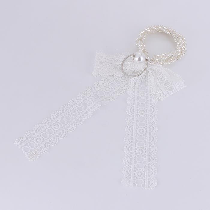 Korea Ribbon Elegant Bowknot Lace Pearl Elastic Hair Bands .JPG