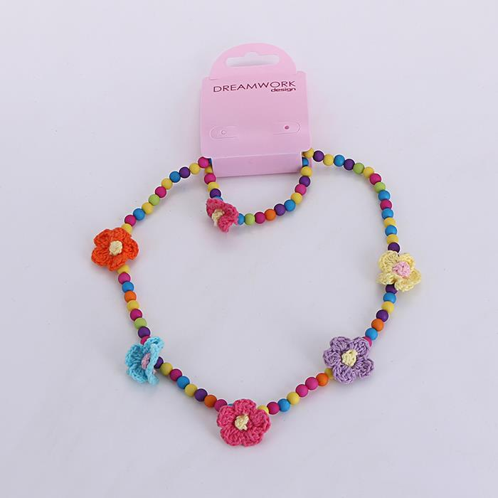 Handmade Acrylic Scrub Flower Braided Necklace Bracelet Set.jpg