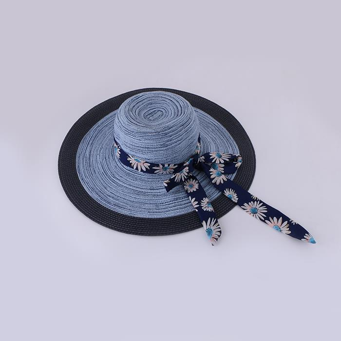 UV protection cotton and linen bow big beach hat foldable.jpg