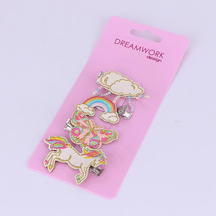 Cute Glitter Embroidery Horse Rainbow Hair Clips Hairpins.jpg