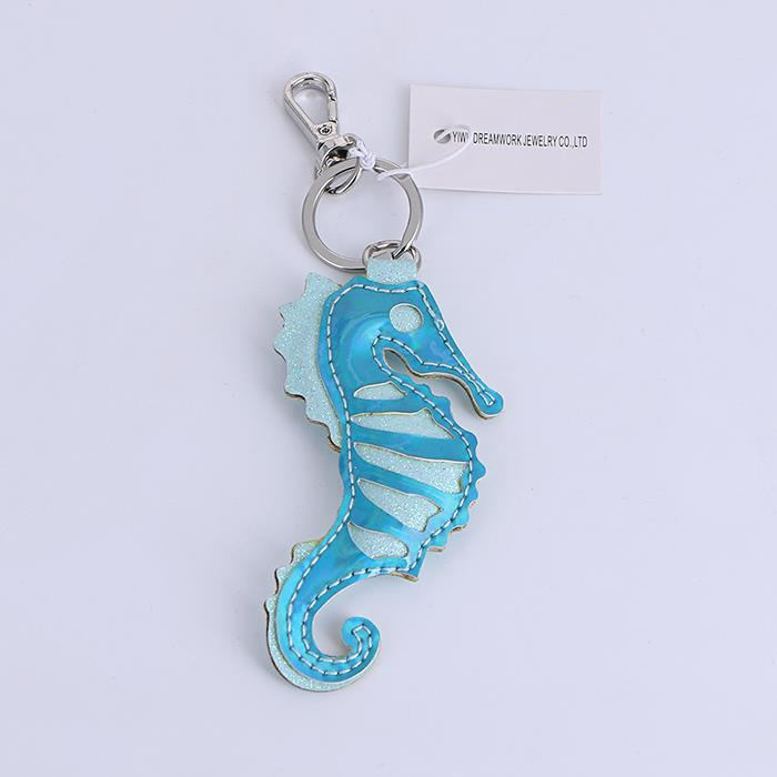 Cute Cartoon Hippocampi Leather Keychain.jpg