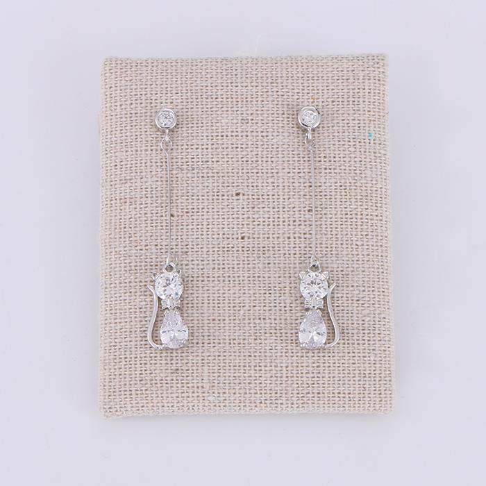 Cute fashion kitten zircon long earrings.JPG