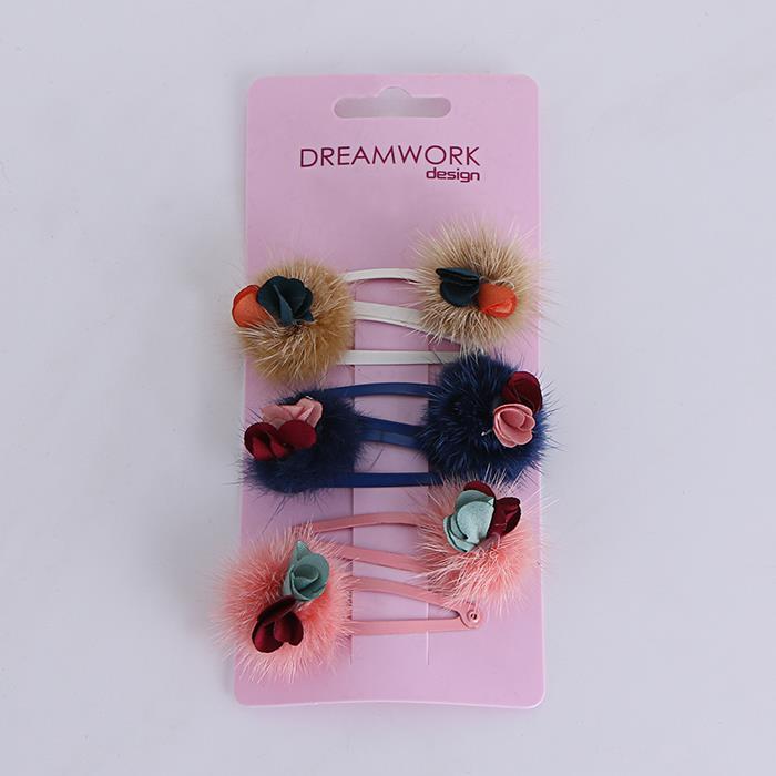 3pair/Set Cute Plush Flower Hairpin Girl Hairgrip.jpg