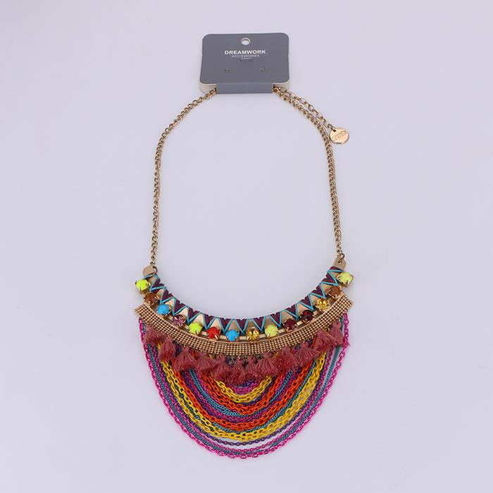 Bohemia Colorful Tassel Choker Necklace.JPG