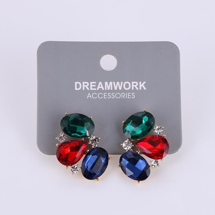 Vintage Colorful Diamond Dangle Earring.JPG