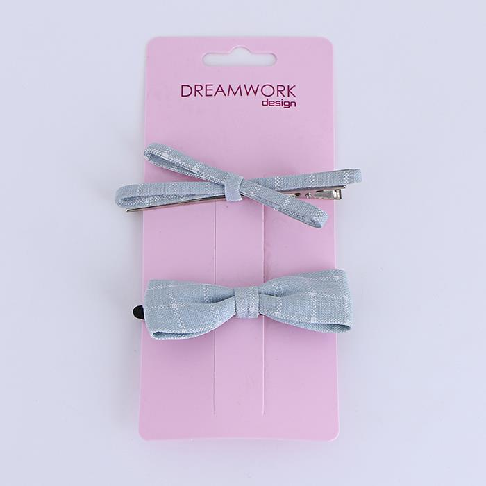 Simple fabric bow hair rope clip set.jpg