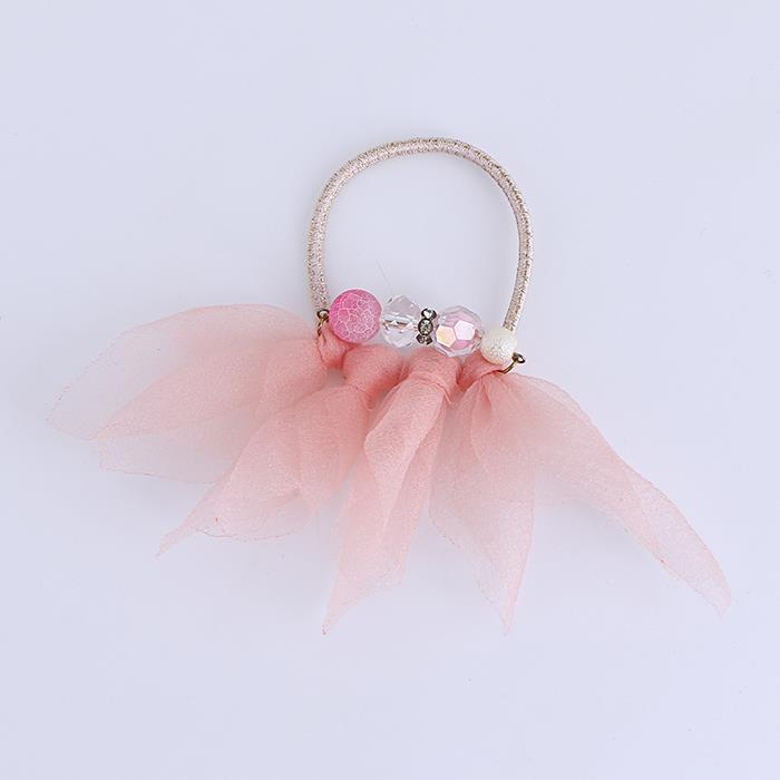 Pink tulle beads hair ring.jpg