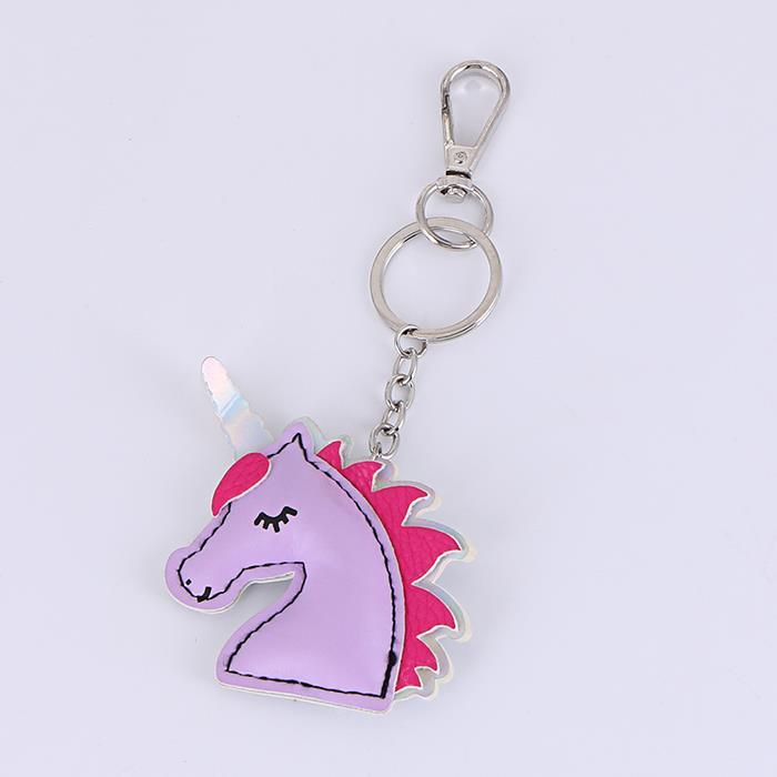 Gradient double-sided purple pony unicorn laser leather keychain.jpg