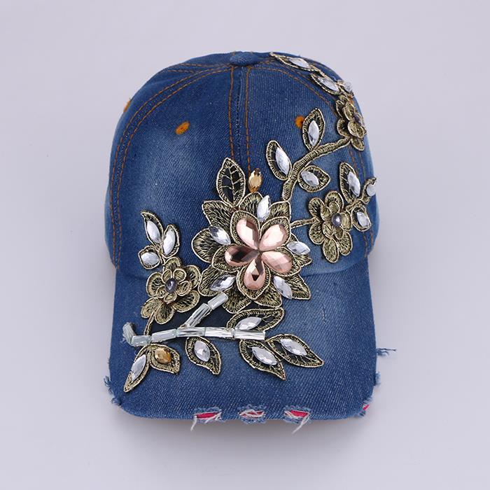 Vintage embroidery flower hat summer cap.JPG