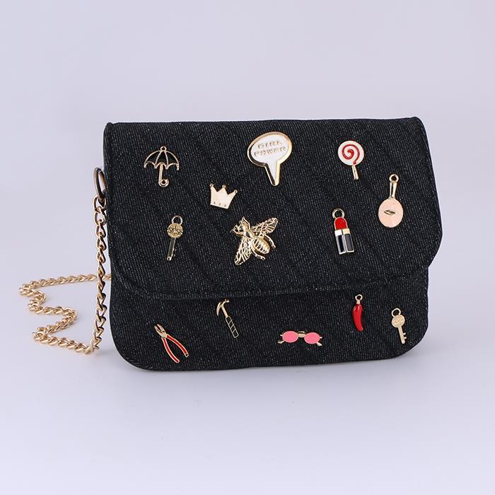 Fashion casual denim icon decorative shoulder bag.JPG
