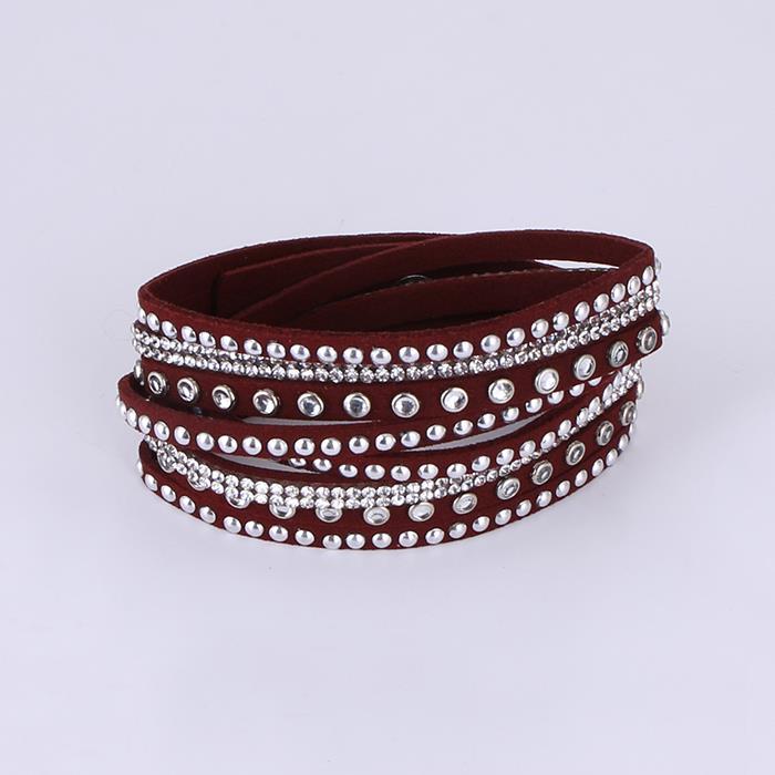 Long hot drilling multi-layer winding velvet bracelet.JPG