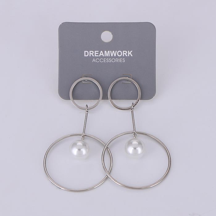 Simple double circle hanging pearl long earrings.JPG